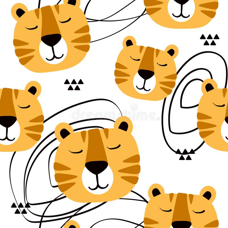 Muzzle of tigers, decorative cute background. Colorful seamless pattern with muzzles of animals. Muzzle of tigers, hand drawn backdrop. Colorful seamless pattern vector illustration