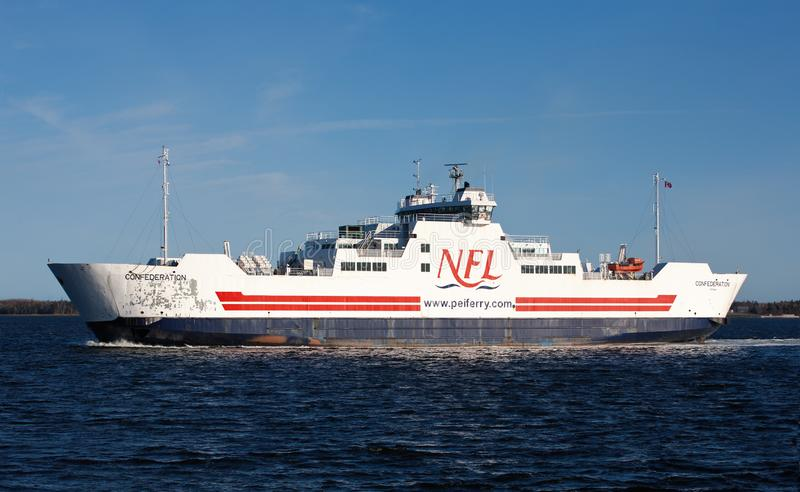 MV Confederation Ferry. CARIBOU, CANADA - MAY 08, 2015: MV Confederation ferry crossing between PEI and NS. Northumberland Ferries Limited is a Canadian ferry stock photos