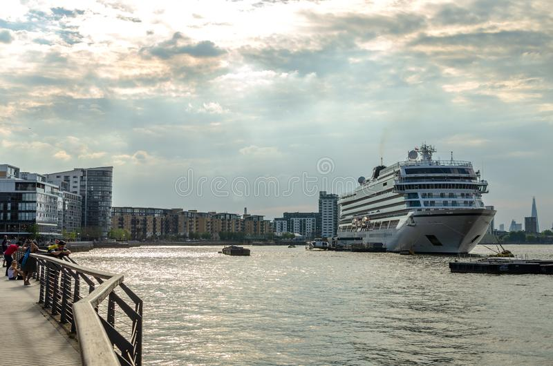 MV Viking Sky docked on the River Thames in London stock images
