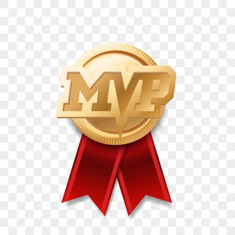 MVP-guldmedaljutmärkelse Vektor mest värdefull spelaretrofélogo stock illustrationer