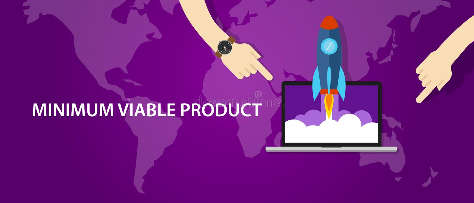 MVP minimum viable product rocket launch stock illustration