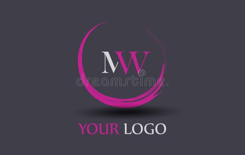 Mw m. W Letter Logo Design illustrazione di stock