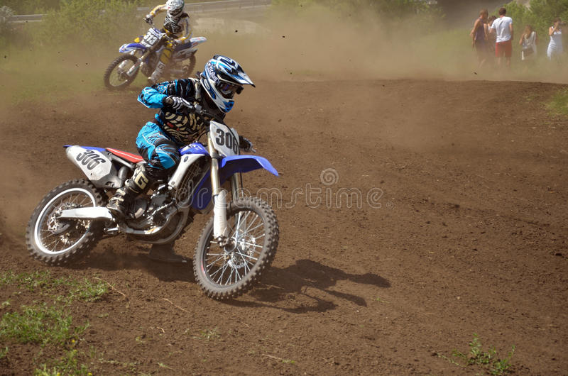 MX Rider On Motorcycle Is Accelerating At The Exit Editorial Photo