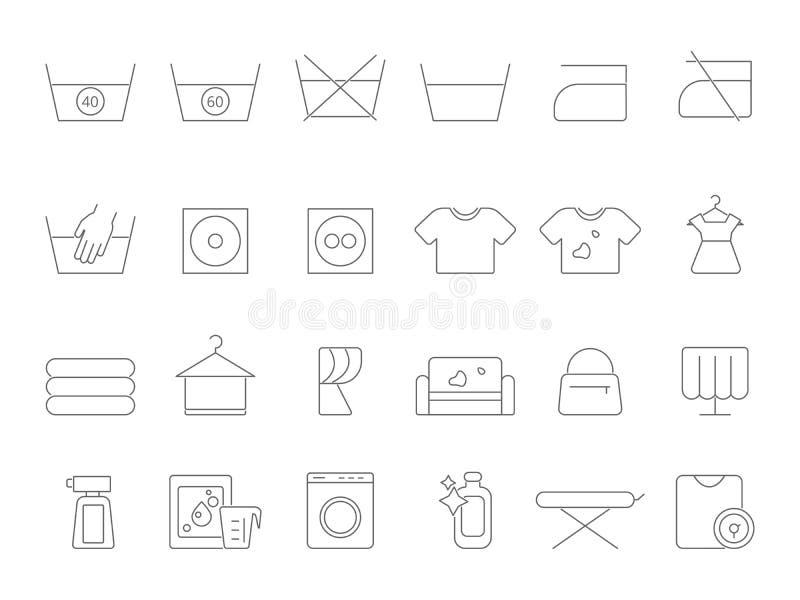 Myć i pralnia kreskowi symbole Wektorowe ikony ustawiać suchy cleaning ilustracja wektor