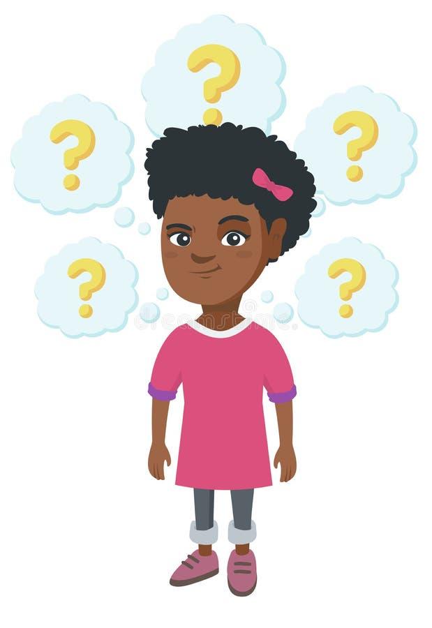 Myśląca afroamerykańska dziewczyna z znakami zapytania royalty ilustracja