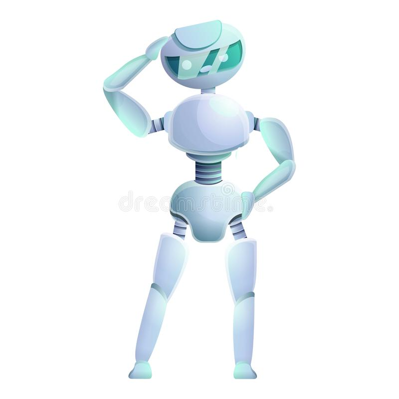 Myśląca humanoid ikona, kreskówka styl royalty ilustracja