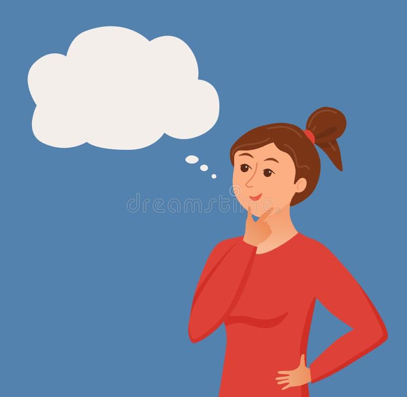 Myśląca kobieta z mowa bąblem Wektorowa ilustracja ładna twarzy młoda dziewczyna ilustracji