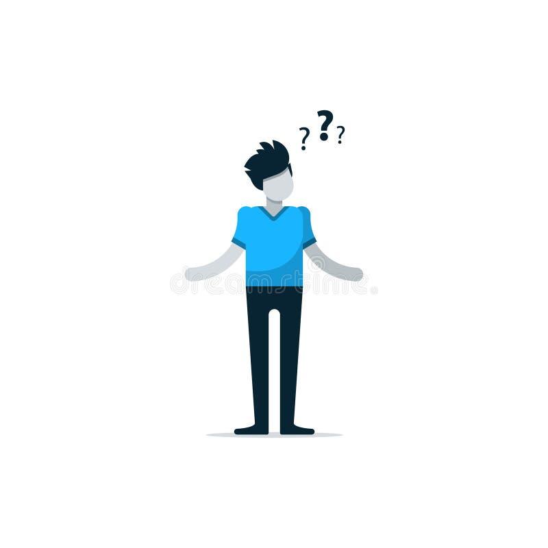 Myśląca osoba o problemu ilustracji