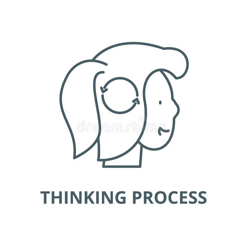 Myśląca proces wektor linii ikona, liniowy pojęcie, konturu znak, symbol ilustracja wektor