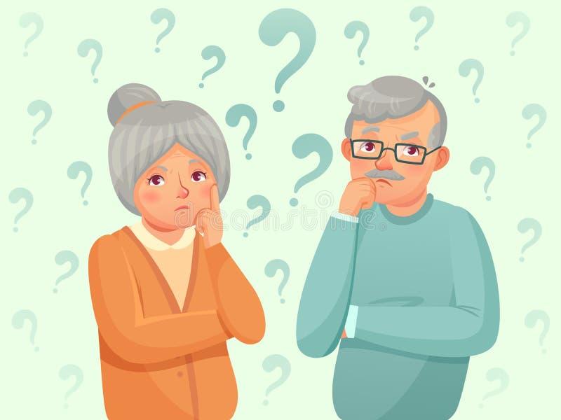 Myśląca senior para Zmieszani starsi ludzi Dziad, babcia zapomina i próbujący pamięta kreskówka wektor ilustracji