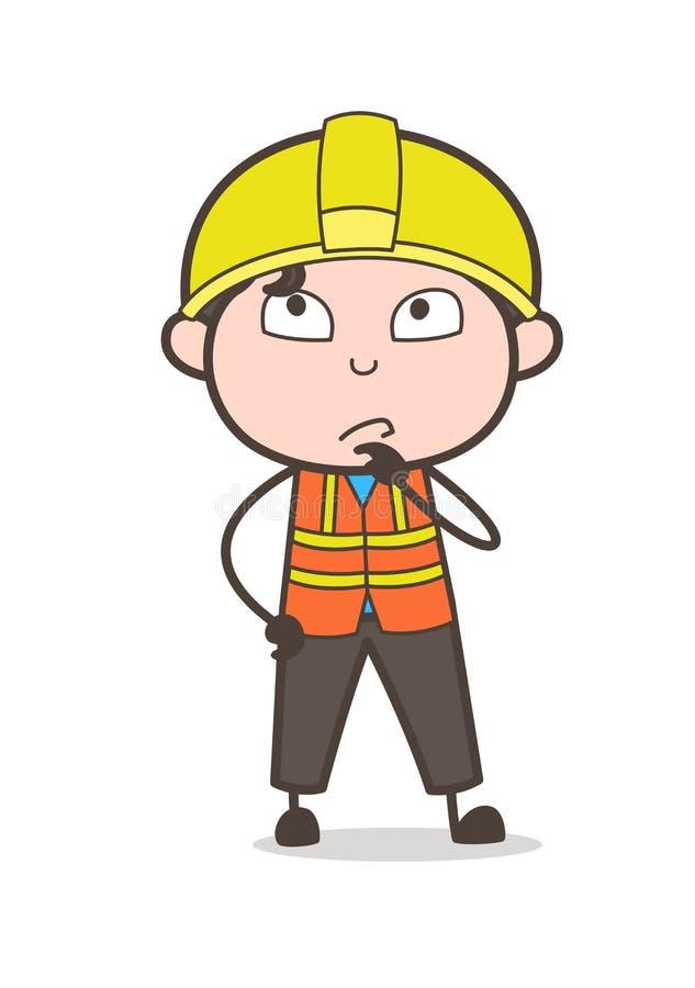Myśląca twarz - Ślicznej kreskówki Męski inżynier Ilustracyjny ilustracja wektor