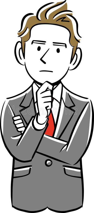 Myślący biznesmen jest ubranym jego kostium ilustracja wektor