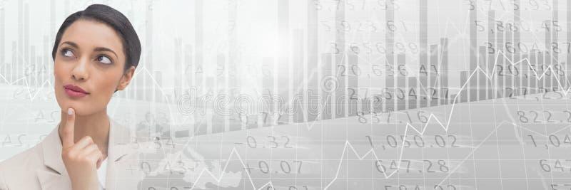 Myślący bizneswoman z rynku papierów wartościowych finanse przemianą ilustracja wektor