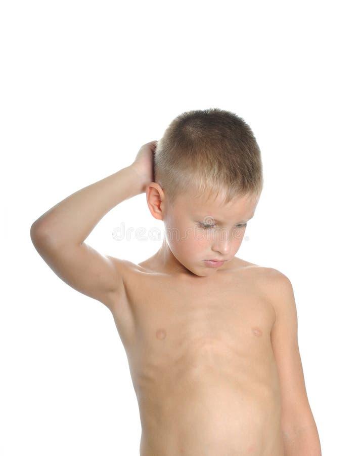 myślący chłopiec potomstwa zdjęcie stock