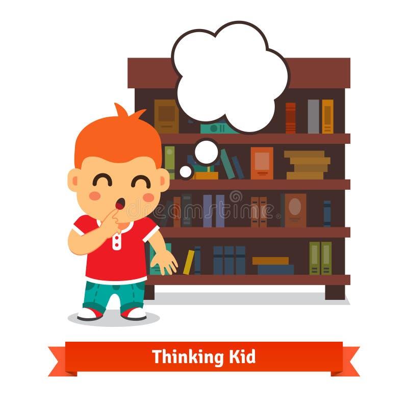 Myślący dzieciak przed pełnym półka na książki ilustracji