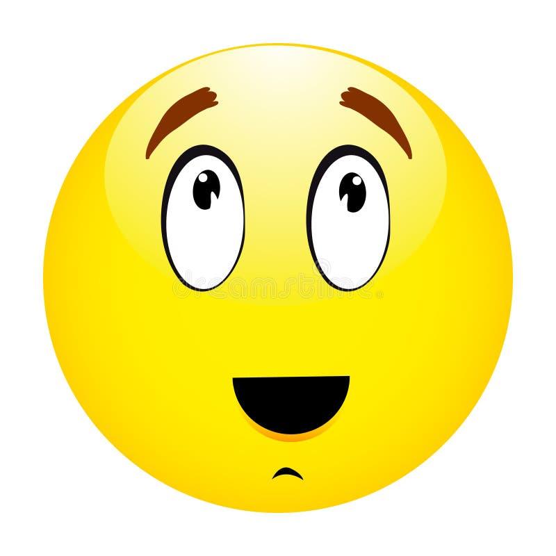 Myślący emoticon smiley royalty ilustracja