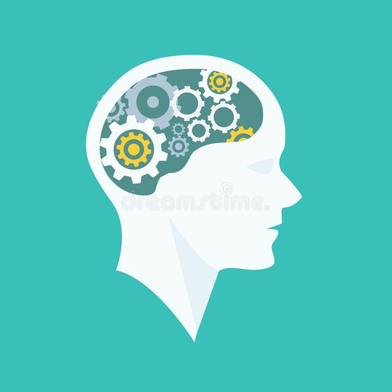 Myślący proces głowy brainstorming ilustracja wektor