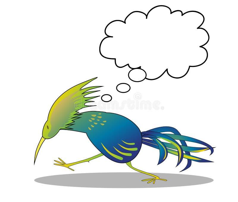Myślący ptak ilustracja wektor