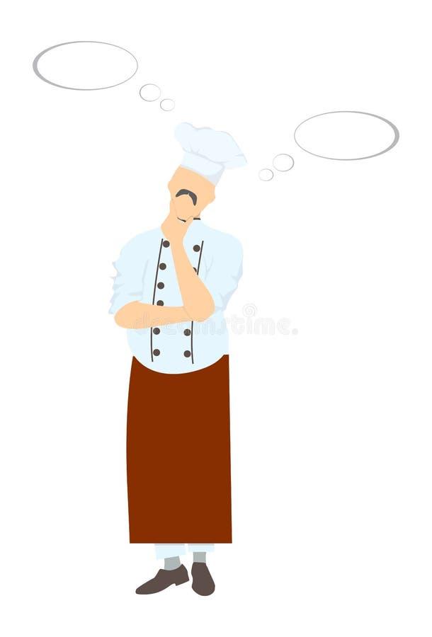 Myślący szefa kuchni kucharz ilustracja wektor