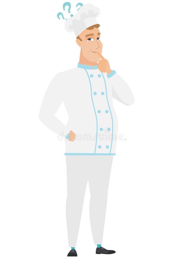 Myślący szefa kuchni kucharz z znakami zapytania ilustracji