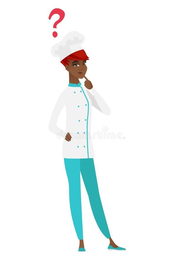 Myślący szefa kuchni kucharz z znakiem zapytania ilustracja wektor