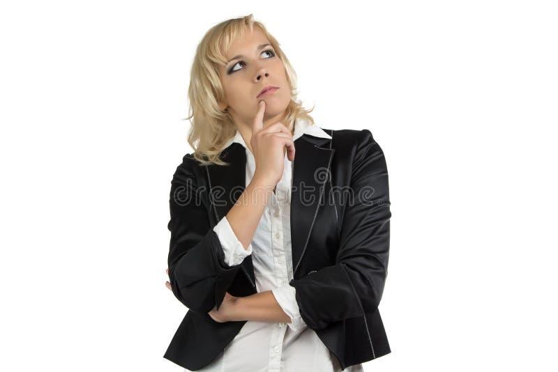 Myślących bizneswomanów przyglądający up obraz stock