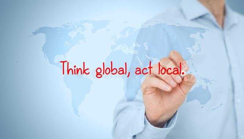 Myśl aktu globalny miejscowy zdjęcia stock