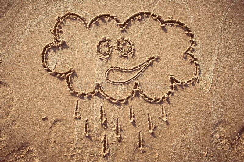 Myśl bąbel rysujący out na piaskowatej plaży lub beach tło obrazy royalty free