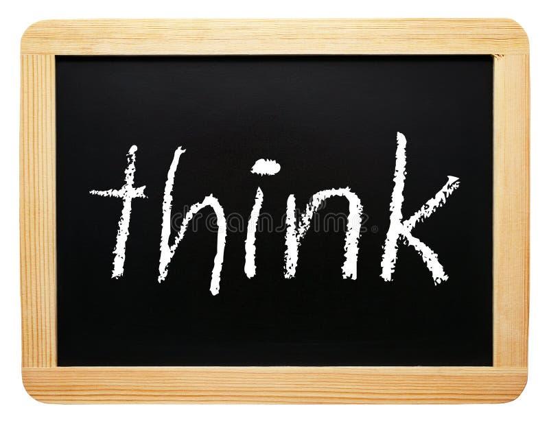 Myśl - chalkboard z tekstem na białym tle zdjęcia royalty free