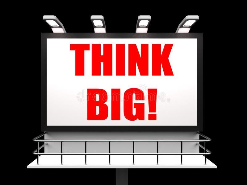 Myśl Duży znak Wskazuje Zachęcających Wielkich cele ilustracji