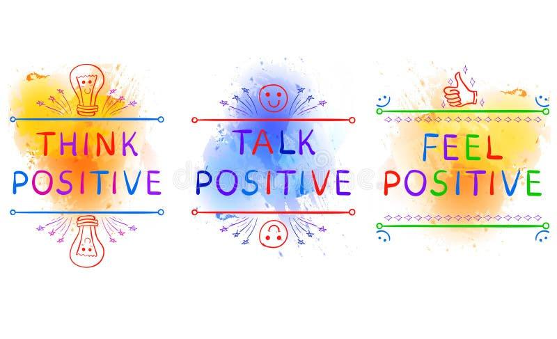 MYŚL pozytyw, rozmowa pozytyw, odczucie pozytyw Inspiracyjni zwroty na farby pluśnięcia tle Doodle winiety Yelolow ilustracji
