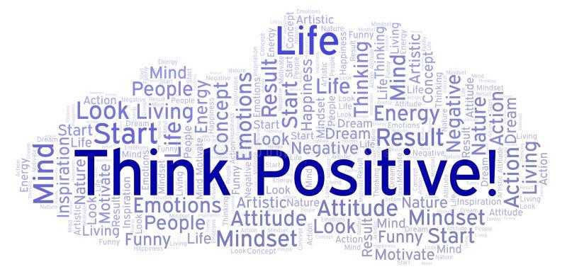 Myśl pozytyw! słowo chmura, robić z tekstem tylko ilustracja wektor