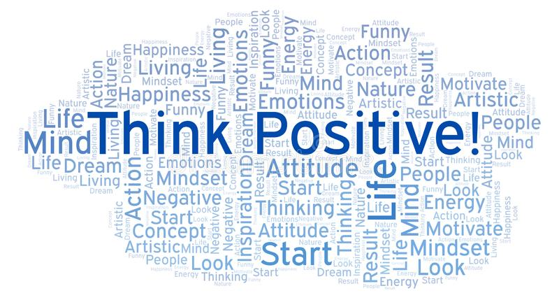 Myśl pozytyw! słowo chmura, robić z tekstem tylko royalty ilustracja
