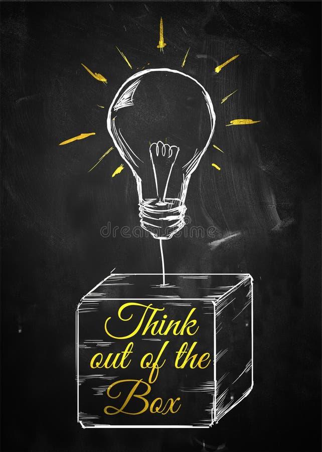 Myśl z pudełkowatej nakreślenie żarówki zdjęcie stock