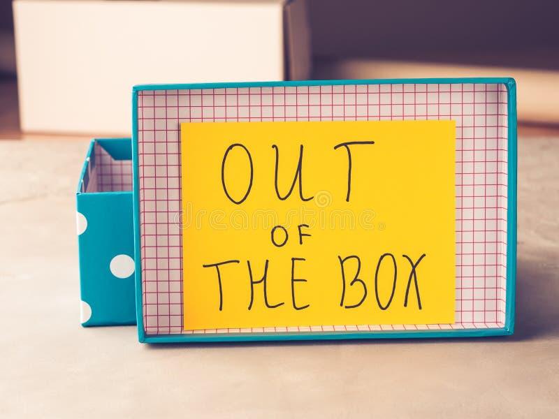 Myśl z pudełkowatej pojęcie żółtej kartki fotografia royalty free