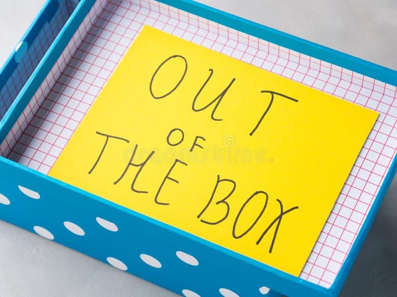 Myśl z pudełkowatej pojęcie żółtej kartki zdjęcie royalty free