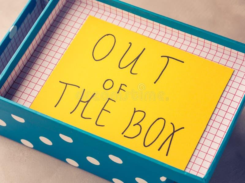 Myśl z pudełkowatej pojęcie żółtej kartki obrazy stock