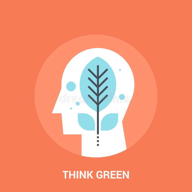 Myśl zielenieje ikony pojęcie ilustracji