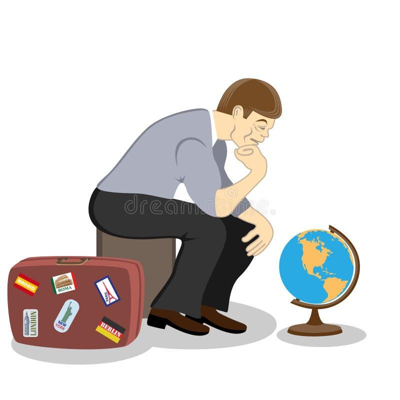 Myśleć dlaczego wydawać twój wakacje, co podróżować ilustracji