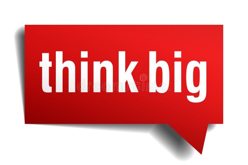 Myśleć dużego czerwieni 3d mowy realistycznego papierowego bąbel ilustracja wektor