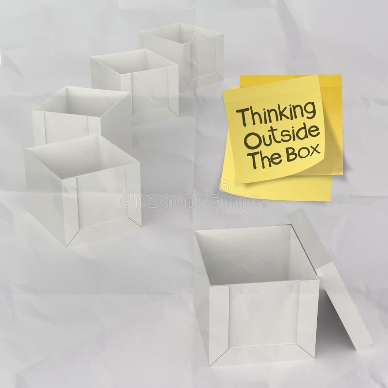 Myśleć na zewnątrz pudełka na zmiętym kleistym nutowym papierze zdjęcie stock