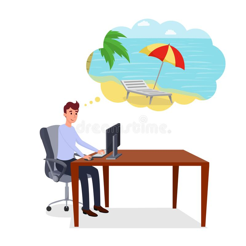 Myśleć o wakacje płaskiej wektorowej ilustracji Uśmiechnięty szczęśliwy przedsiębiorca, urzędnik, kierownik, programista przy royalty ilustracja