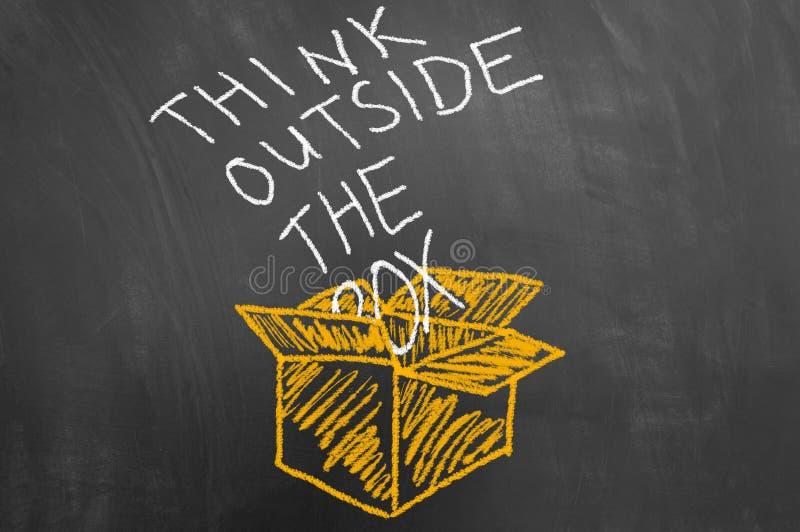 Myśleć outside pudełkowaty pojęcie z tekstem na blackboard zdjęcia stock