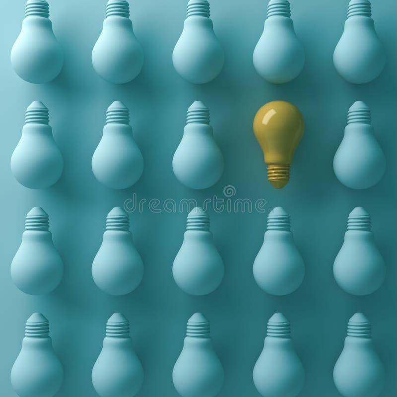 Myśleć różnego pojęcie, Jeden żółta żarówka stoi out od unlit zielonych płonących lightbulbs royalty ilustracja