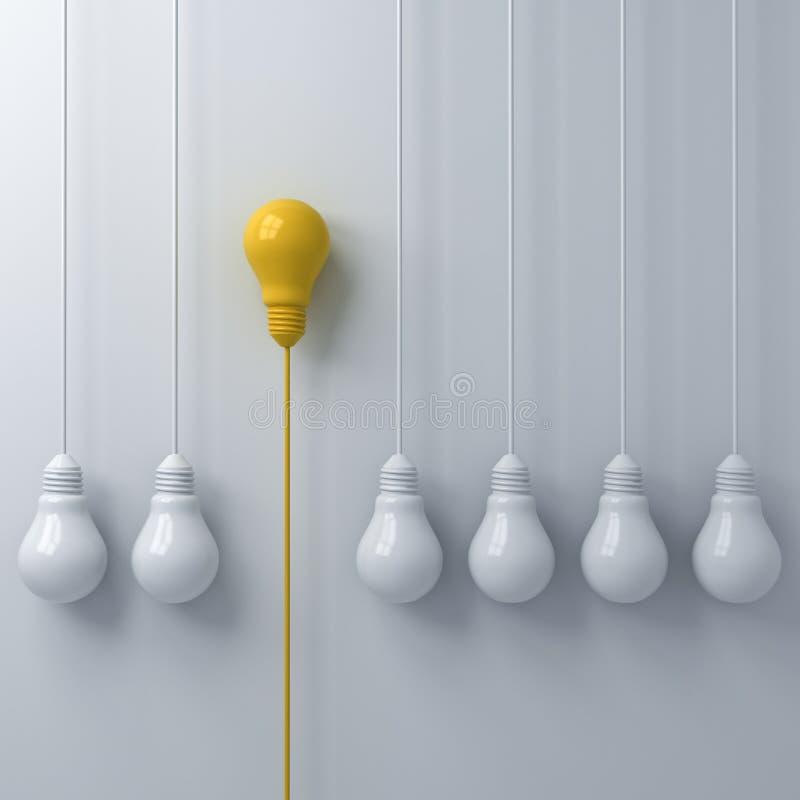 Myśleć różny Jeden pojęcia wiszącą żółtą żarówkę stoi out od światło białe żarówek na biel ściany tle z cieniem ilustracja wektor