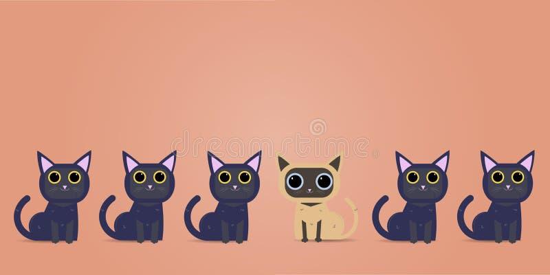Myśli inaczej grafika różny kot także - Być różny, brać ryzykowny, ruch dla sukcesu w życiu - ilustracja wektor