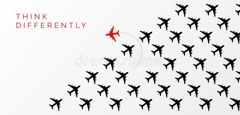 Myśli inaczej pojęcie Czerwony samolotowy odmienianie kierunek royalty ilustracja