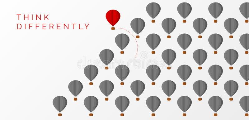 Myśli inaczej pojęcie Gorącego powietrza odmieniania balonowy kierunek ilustracji