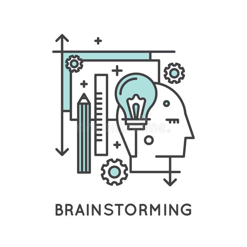 Myśli Outside Pudełkowaty pojęcie, wyobraźnia, Mądrze rozwiązanie, twórczość i Brainstorming, royalty ilustracja