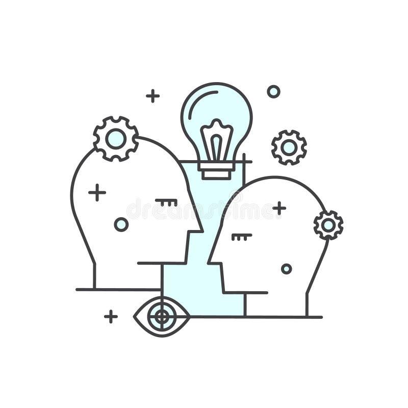 Myśli Outside Pudełkowaty pojęcie, wyobraźnia, współpraca, Mądrze rozwiązania, twórczości i Brainstorming, royalty ilustracja